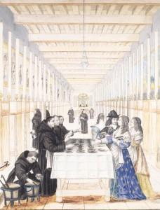 """Abraham Bosse (d'après). """"La Reine française Anne d'Autriche et son fils le Dauphin visitant l'hôpital de la Charité"""". Paris, musée Carnavalet."""